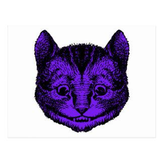 Cheshire-Katze schwärzte lila Fülle mit Tinte Postkarte