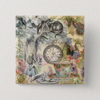 Cheshire-Katzen-Alice im Wunderland Quadratischer Button 5,1 Cm