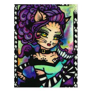 Cheshire-Katzen-Alice-Rauch-feenhaftes Postkarte