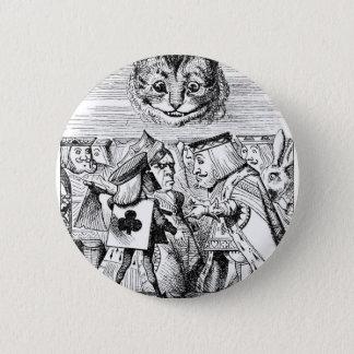 Cheshirekatze und -abgabe runder button 5,7 cm