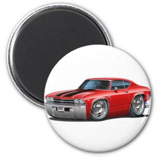 Chevelle Rot-Schwarzes Auto 1969 Runder Magnet 5,1 Cm