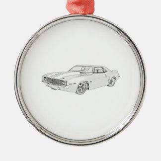 Chevrolet- Camarobleistift-Art-Illustration 1969 Silbernes Ornament