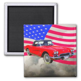 Chevrolet Corvette 1962 mit Staat-Flagge Quadratischer Magnet