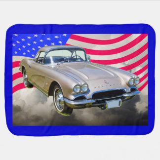 Chevrolet Corvette 1962 und amerikanische Flagge Babydecke