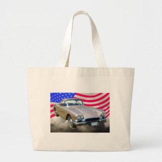 Chevrolet Corvette 1962 und amerikanische Flagge Jumbo Stoffbeutel