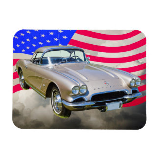 Chevrolet Corvette 1962 und amerikanische Flagge Magnet