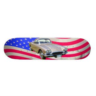 Chevrolet Corvette 1962 und amerikanische Flagge Skate Board
