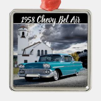 Chevy Bel Air-klassisches Auto-Zug-Depot 1958 Silbernes Ornament