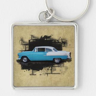 Chevy Bel Luft Klassiker Autos-Keychain 1955 Silberfarbener Quadratischer Schlüsselanhänger