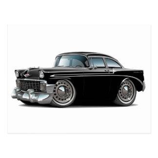 Chevy Belair schwarzes Auto 1956 Postkarte
