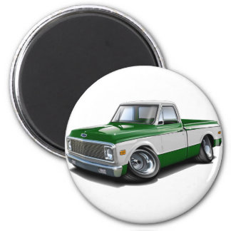 Chevy C10 Grün-Weißer LKW 1970-72 Runder Magnet 5,7 Cm