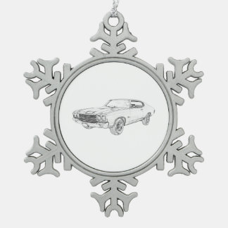 chevy chevelle 1970 schneeflocken Zinn-Ornament