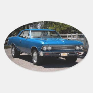 Chevy Chevelle Malibu Chevrolet Muskel-Auto 1966 Ovaler Aufkleber