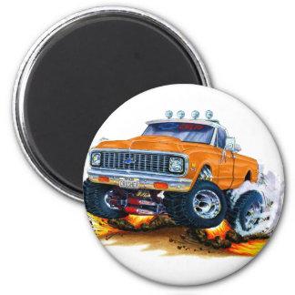Chevy CK1500 Orangen-LKW 1970-72 Runder Magnet 5,1 Cm