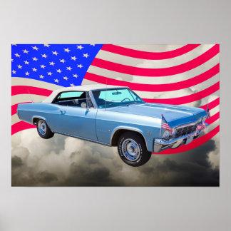 Chevy Impala 1965 327 mit amerikanischer Flagge Poster