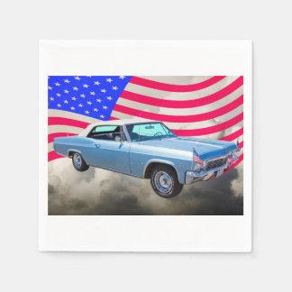 Chevy Impala 1965 327 mit amerikanischer Flagge Serviette