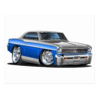 Chevy Nova-Blau-Graues Auto Postkarte