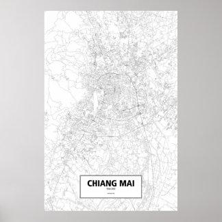 Chiang Mai, Thailand (Schwarzes auf Weiß) Poster