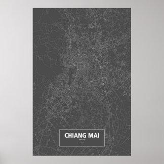 Chiang Mai, Thailand (weiß auf Schwarzem) Poster