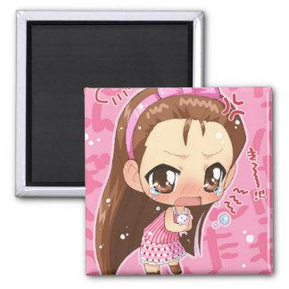 Chibi Anime-Mädchen-Knopf 2 Quadratischer Magnet