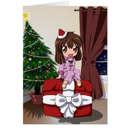 chibi anime weihnachten freier raum gru karte zazzle. Black Bedroom Furniture Sets. Home Design Ideas