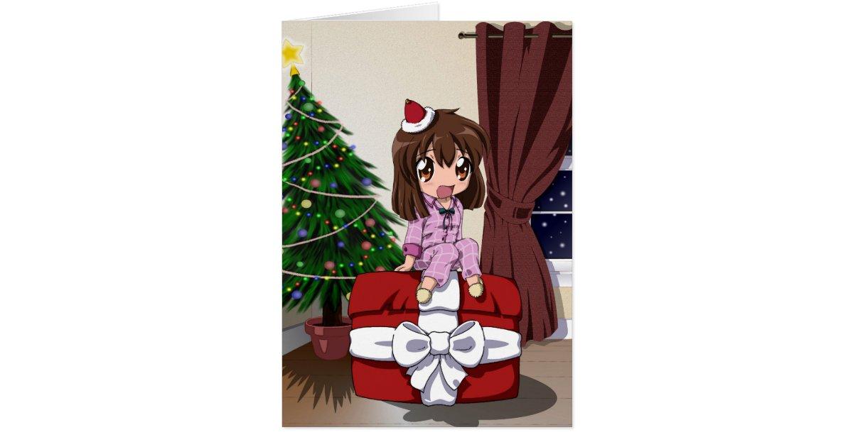 chibi anime weihnachten freier raum karte zazzle. Black Bedroom Furniture Sets. Home Design Ideas