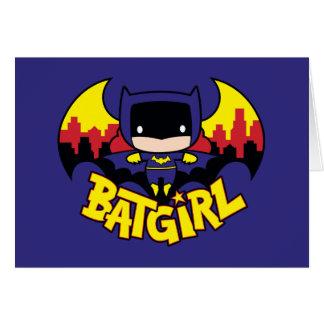 Chibi Batgirl mit Gotham Skylinen u. Logo Karte