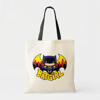 Chibi Batgirl mit Gotham Skylinen u. Logo Tragetasche