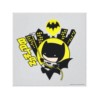 Chibi Batman, der die Stadt einstuft Leinwanddruck
