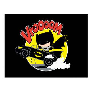 Chibi Batman im Batmobile Postkarte