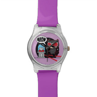 Chibi Catwoman, der einen Diamanten stiehlt Armbanduhr