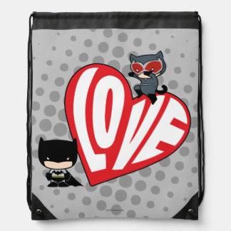 Chibi Catwoman-Sprung auf Batman Turnbeutel