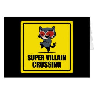 Chibi Catwoman-Superschuft-Überfahrt-Zeichen Karte