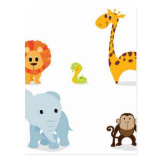 Chibi Dschungel-Tierentwurf Postkarten