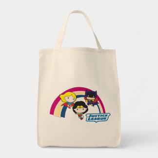 Chibi Gerechtigkeits-Liga-Regenbogen Einkaufstasche