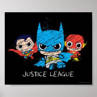 Chibi Gerechtigkeits-Liga-Skizze Poster