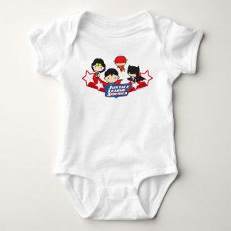 Chibi Gerechtigkeits-Liga von Amerika-Sternen Baby Strampler
