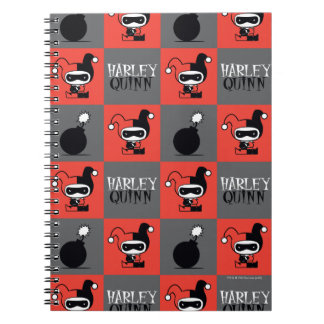 Chibi Harley Quinn Schachbrett-Muster Spiral Notizblock