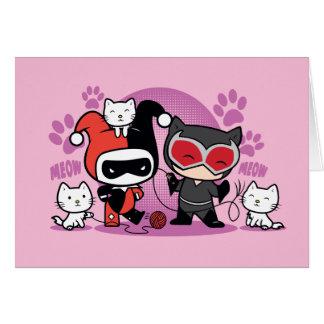 Chibi Harley Quinn u. Chibi Catwoman mit Katzen Karte
