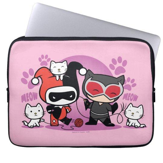 Chibi Harley Quinn u. Chibi Catwoman mit Katzen Laptop Sleeve