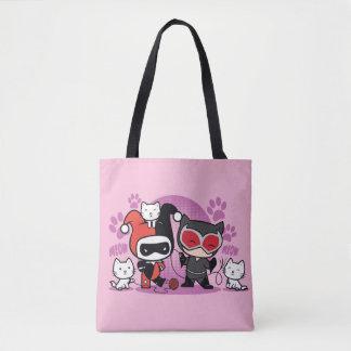 Chibi Harley Quinn u. Chibi Catwoman mit Katzen Tasche
