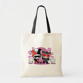 Chibi Harley Quinn u. Chibi Catwoman mit Katzen Tragetasche