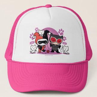 Chibi Harley Quinn u. Chibi Catwoman mit Katzen Truckerkappe