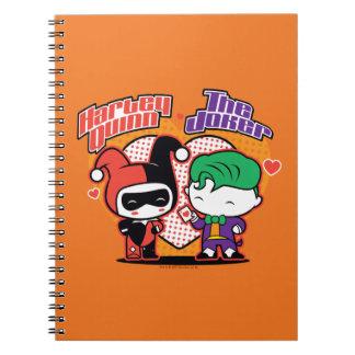 Chibi Harley Quinn u. Chibi Joker-Herzen Spiral Notizblock