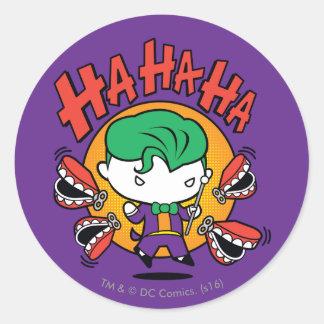 Chibi Joker mit den Spielzeug-Zähnen Runder Aufkleber