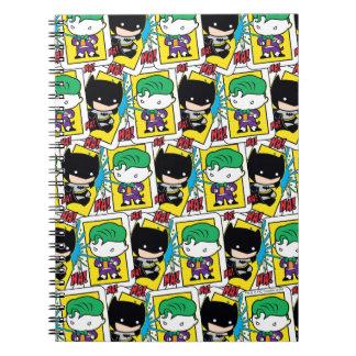 Chibi Joker-und Batman-Spielkarte-Muster Notizblock