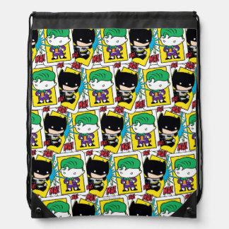 Chibi Joker-und Batman-Spielkarte-Muster Turnbeutel
