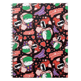 Chibi Joker-und Harley Herz-Muster Notizblock