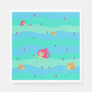 Chibi Meerjungfrau- u. Seepferdpapierservietten Papierserviette