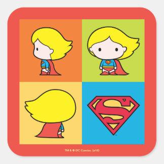Chibi Supergirl Charakter-Rücklauf Quadratischer Aufkleber